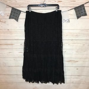 Chico's Black Lace Flared Maxi Pull On Skirt 2/ L